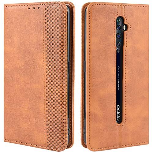 HualuBro Handyhülle für Oppo Reno 2Z / 2F Hülle, Retro Leder Brieftasche Tasche Schutzhülle Handytasche LederHülle Flip Hülle Cover für Oppo Reno2 F / Reno2 Z - Braun