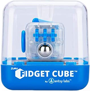 Zuru Fidget Cube by Antsy Labs - Custom Series (Solid Blue Switch) Clear Fidget Cube with Blue Accents
