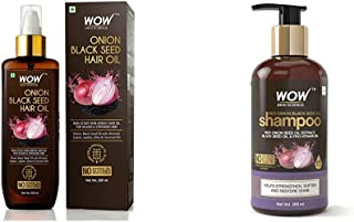 WOW Skin Science Onion Black Seed Hair Oil - Controls Hair Fall - No Mineral Oil, Silicones And WOW Skin Science Red Onion...