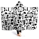 ARRISUM Cute Panda Pattern Hooded Blanket Super Soft Flannel for Bed Sofa Lightweight Blanket Throw Size for Kids Adults All Season 60X50 Inches