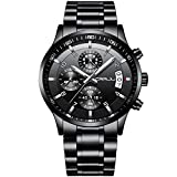 CRRJU Men's Watch Six-pin Multifunctional Chronograph Wristwatches,Stainsteel Steel Band Waterproof Watch for Men Black dial