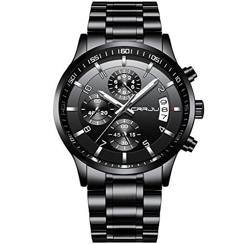 CRRJU Men's Watch Six-pin Multifunctional Chronograph Wristwatches,Stainsteel Steel Band Waterproof...