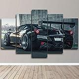 Lienzos decorativos Ferrari 458 Super Coche Negro-150x80 CM Cuadros Modernos Impresión de Imagen Artística Digitalizada Lienzo Decorativo Para Salón o Dormitorio 5 Piezas