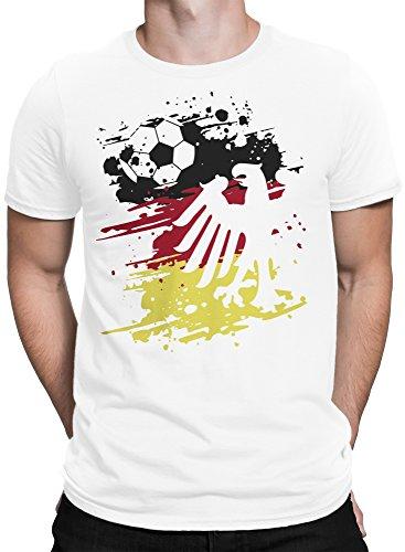 vanVerden Herren T-Shirt Fußball Weltmeisterschaft 2018 Deutschland WM Trikot Adler Ball Plus Geschenkkarte, Color:Weiß, Größe:4XL