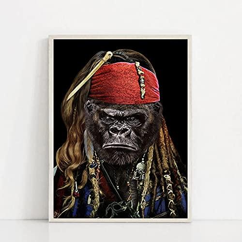 AJleil DIY Pintar por números Fumar Gorila y Mono Pintura Arte decoración Kit de Pintura Digital con Pincel y Pintura acrílica Pintura para Adultos por números Accesorios de dec50x70cm(Sin Marco)