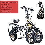 Adulto eléctrico Triciclo, Bicicleta eléctrica Plegable, Bicicleta de montaña eléctrica, Tres Modos de Velocidad, neumáticos Grandes, Vespa hasta 30 km/H Doble batería de Litio