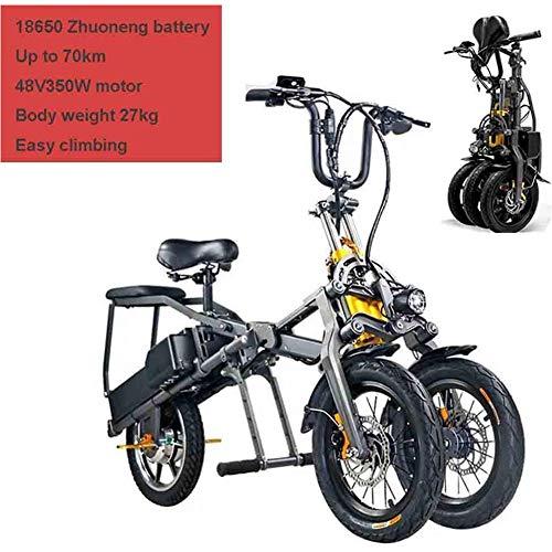 DSHUJC Faltbare elektrisches Fahrrad, Erwachsene Elektro-Dreirad, Elektro-Mountainbike, Roller bis zu 30 km/h Doppel-Lithium-Batterie, DREI Geschwindigkeitsarten, Reifen Big