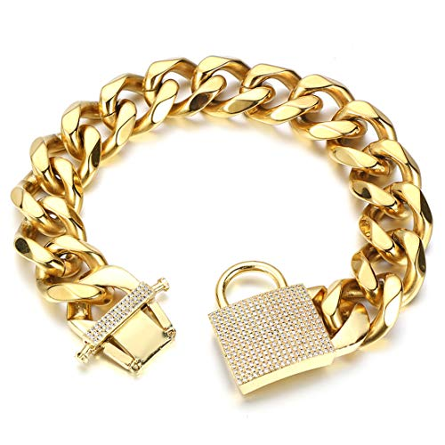 Aiyidi Big Dog Chain Collar Heavy Strong Gold Chain Bling Dog Collar Thick Solid Stainless Steel Wide 23MM Cuban Link Chain Choke Dog Collar for Medium Large Dogs (22inch)