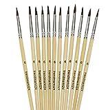 trendmarkt24 Haarpinsel Sortiment 12 Stück Schulpinsel Nr. 6 Set Ponyhaar Malpinsel zum Malen mit...
