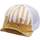 ベビー帽子 メッシュキャップ つば広 日差しカット 紫外線防止 日除け帽 女の子 男の子 6-18ヶ月幼児 赤ちゃん 野球帽子 夏 薄め帽子 耳付き 可愛いサンハット キッズ アウトドア お出かけハット イエロー