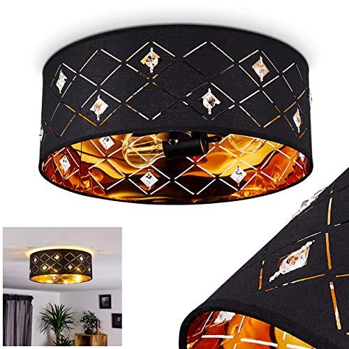 Deckenleuchte Trasancos, runde Deckenlampe aus Stoff in schwarz-Kupfer, Ø 40 cm, moderne Inneleuchte mit Lichteffekt, 3-flammig, 3 x E27 max. 60 Watt, geeignet für LED Leuchtmittel