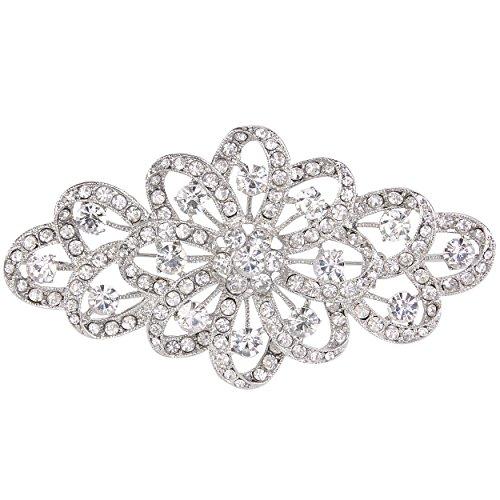 EVER FAITH Broche para Mujer Cristal Austríaco 4 Inch Flor Filigrana Boda Claro Tono Plateado