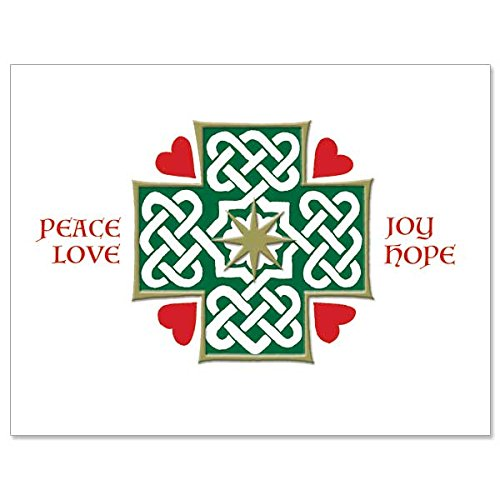 Celtic Religious Christmas Note Cards Joy, Hope, Peace, Love Deluxe Notecards