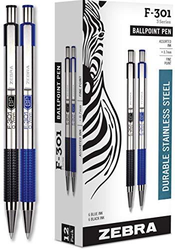 Zebra Pens Fine Point F 301, Bulk Combo Pack of 6 BLACK INK & 6 BLUE INK metal pens (Total of 12 Pens), Ballpoint Stainless Steel Retractable 0.7mm fine point ink pens