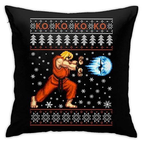 WH-CLA Pillowcase Street Fighter Christmas Ken KO Knit Pattern Anime Sofá 45X45Cm Sala De Estar Hogar Cremallera Dormitorio Fiesta Funda De Almohada Duradera Suave Fundas De Almohada Cama