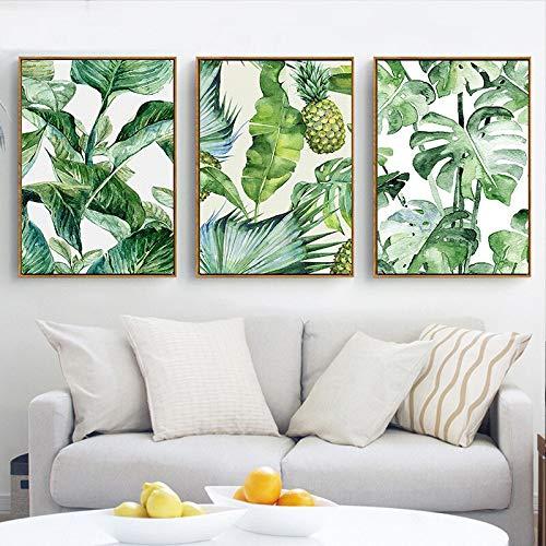 ganlanshu Pintura al óleo de HAO Zhu Árbol de Coco Tropical Planta de piña Modular Imagen Decoración de la Sala de Estar,Pintura sin Marco,60x80cmx3