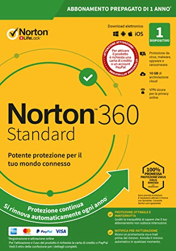 Norton 360 Standard 2020 | 1 Dispositivo | Licenza di 1 Anno con Rinnovo Automatico | Secure VPN e Password Manager | PC, Mac, Tablet e Smartphone
