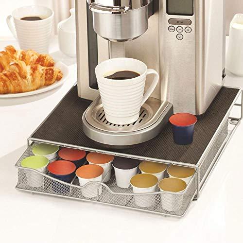 Bakaji Kaffeekapselhalter und Kaffeepads Nespresso Nescafé Lavazza aus Metall, ausziehbarer Schublade Silber und Top Schwarz (33 x 32 x 7,5 cm)
