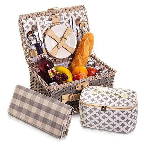 Grey Willow Wicker Picnic Hamper Basket 29 Piece Set Cloth Lined with Ceramic Plates Steel Cutlery Plastic Glasses and Cotton Napkins Cool Bag Ground Blanket Cloth Lining (Rectangle Top)