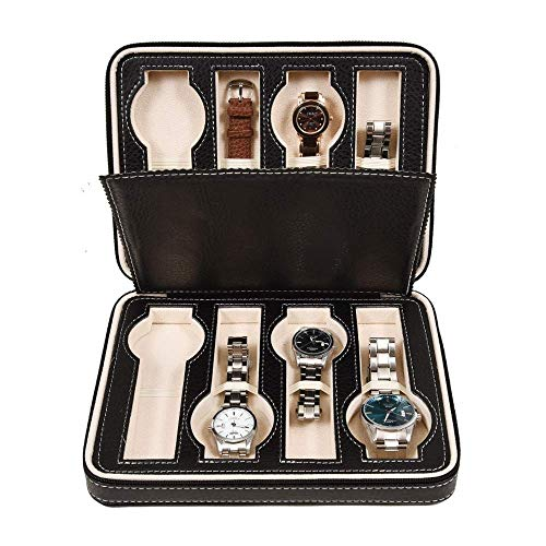Kijken opbergdoos 8 Grids Zipper kijken opbergdoos sieraden vitrine for mannen Vrouwen Black cadeau for je vriend en Gezin (Kleur: Zwart, Maat: 24x18x6cm) LOLDF1 (Color : Black, Size : 24x18x6cm)