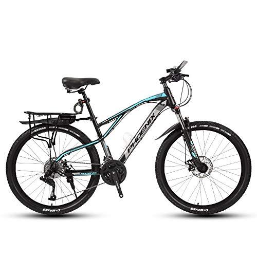 DGAGD Rueda de radios de Bicicleta Ligera de Velocidad Variable de Bicicleta de montaña de 24 Pulgadas-Azul Negro_21 velocidades