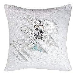 Silver-White Flip Sequin Pillow Cover Throw