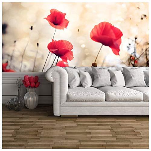 azutura Rote Mohnblumen-Blumen Fototapete Blumenweinlese Tapete Wohnzimmer Dekor Erhältlich in 8 Größen Mittel Digital