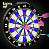 LIGHT-UP Magnetic Dart Board Game - Innovative Illuminated Kids Safe Dartboard Set with Glow-in-the-Dark Darts for Kids,...