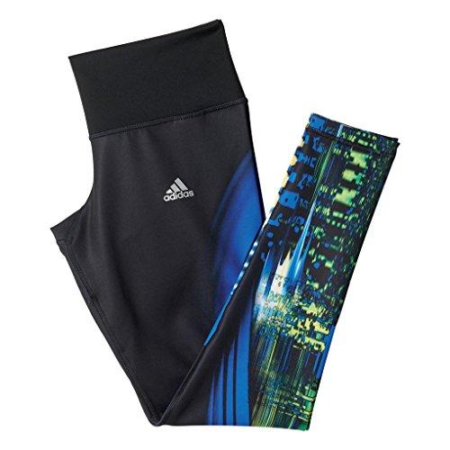 adidas Damen Trainingshose Fitnesstights Techfit Long AOP Hose, Schwarz/Blau, L