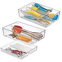 mdesign organizer cassetti cucina a due componenti – funzionale vassoio portaposate con 4 scomparti per gli utensili cucina – organizzatore cassetti in resistente plastica - trasparente
