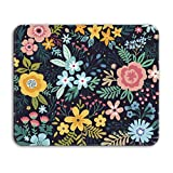 Dooke Gaming Mouse Pad, Cute Rectangle Mouse Mat with Anti Slip Rubber Water-Resistant Surface for Desktops,Blooming Flower