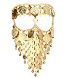 Astage Women Carnival Coin Veil Cosplay Face Chain Party Belly Dance Jewelry Gold