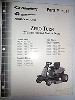Simplicity MF Agco Allis ZT Series Zero Turn Riders & Mower Decks (14 & 16 HP) Parts Catalog Book Manual Original TP400-2169