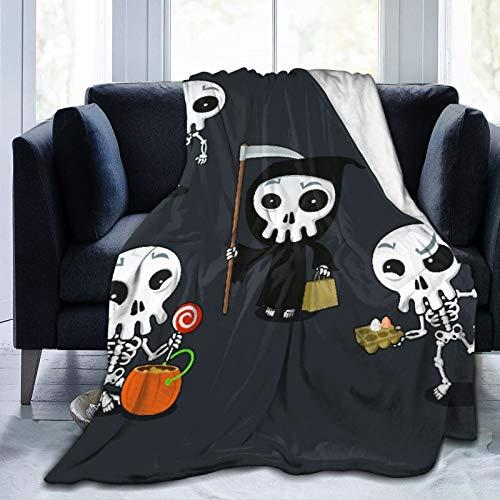 Manta Mantas de Franela,Naranja Feliz Halloween Esqueleto Dibujos Animados Disfraz Calavera Atracciones Manta de Lana Manta de sof Manta de Aire Acondicionado de da luz para sof Cama 150x125cm