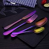 WHWH Set de Cubiertos.Gilt Western Steak Cutlery Mirror Polished Dinnerware Kitchen Tableware-Colorful 4 Piece Set