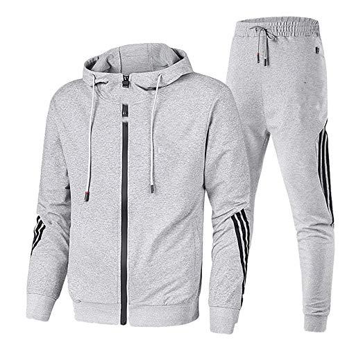 primavera y otoño de los hombres de dos piezas a rayas ropa deportiva de los hombres con capucha superior pantalones deportivos al aire libre