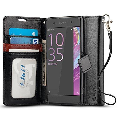JundD Kompatibel für Xperia XA Leder Hülle, [Handytasche mit Standfuß] [Slim Fit] Robust Stoßfest PU Leder Flip Handyhülle Tasche Hülle für Sony Xperia XA Hülle - Schwarz