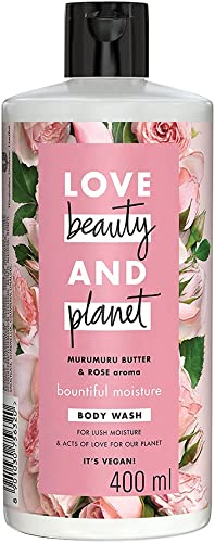Love Beauty & Planet Natural Murumuru Butter & Rose Glow Body Wash, Gentle Plant-based Cleanser, Paraben Free, Sulpha...