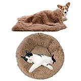 YiCTe Cama para Gatos Cama para Perros Linda Cama Lavable para Mascotas Cojín Donut Cama Suave Cómoda para Gatos y Perros pequeños medianos Grandes Caqui 70 cm diámetro