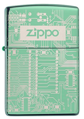ZIPPO – Sturmfeuerzeug, Circuit Board Design, 360° Laser Engraved, High Polish Green, nachfüllbar, in hochwertiger Geschenkbox