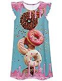 Idgreatim Schlafanzug Mädchen Prinzessin Einhorn Donuts Nachthemd Flatterärmel Sleepover Nachthemd 140