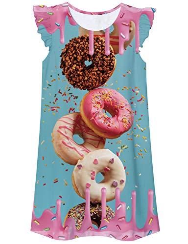 Funnycokid Pyjamas Kinder Nachthemd Kleider Donuts Grafik Schöne Prinzessin Nachtwäsche Kleinkind Freizeitkleid Nachthemd Kinder Nachthemd 11-12 Jahre