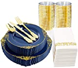Nervure 175pcs Blue plastic Plates with Gold trim&Gold Plastic Silverware -Include 25 Dinner Plates 25Salad Plates-25Retro Knives 25Spoons 25Forks 25Cups 25Napkins-Wedding&Parties Supplies