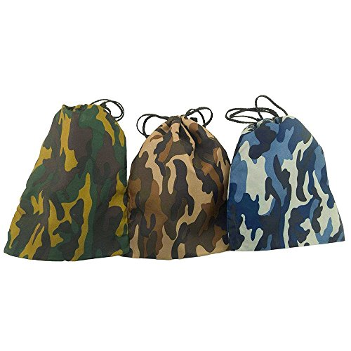 Deco4Fun 12 Pack of Camo Camouflage Polyester Drawstring Bags Loot Sack Party Favors