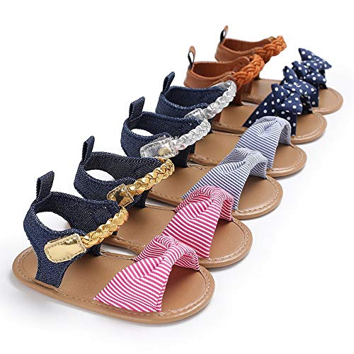 Baby Meisjes Sandals Peuter Newborn Infant Summer Bow Knot Sandalen Casual Soft Anti-slip zool van de baby Walking schoenen Platte schoenen Slipper Schoenen (Color : Dark blue, Size : L)