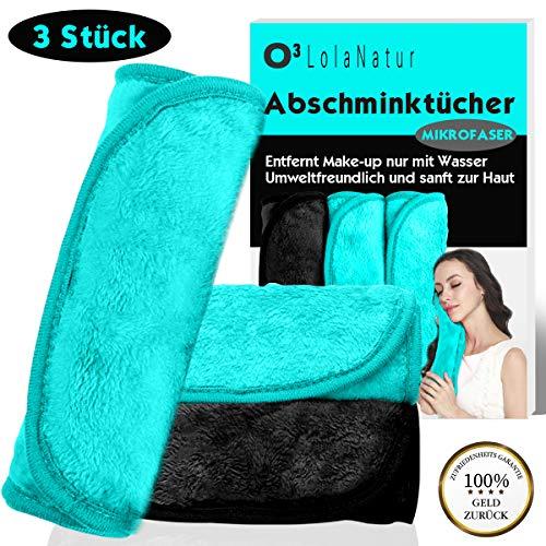 O³ LolaNatur Mikrofaser Abschminktücher // 3 Stück // Microfaser Tuch zum Abschminken – nur mit Wasser // wiederverwendbar - waschbar Make up remover towel