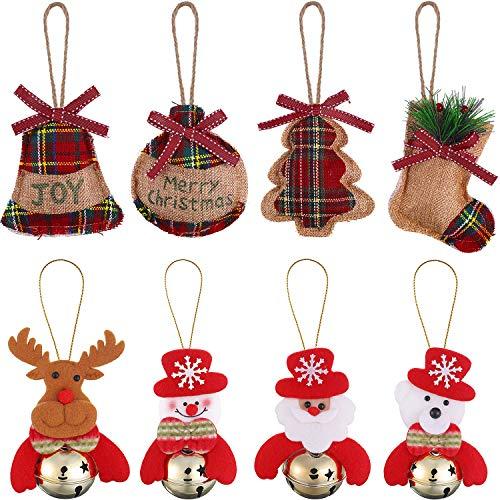 Gejoy 8 Pieces Burlap Hanging Christmas Tree Ornaments Set...
