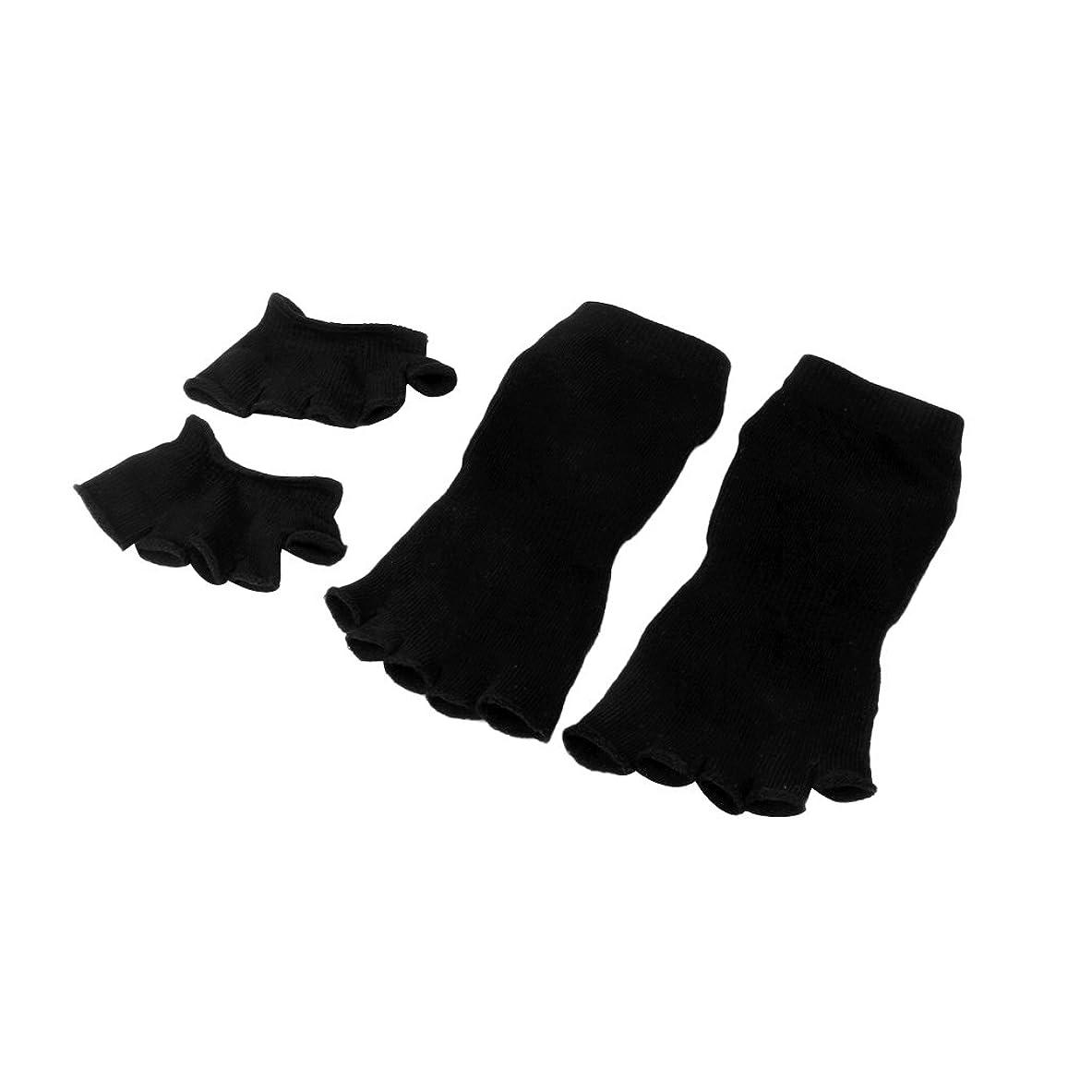 戸口イデオロギー協定【Footful】ソックス 靴下 5本指つま先ソックス+爽快指の間カバー 4枚組 黒