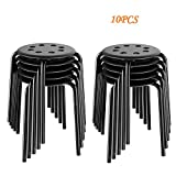 Yaheetech Portable Plastic Stack Bar Stools Flexible Backless Dining Chairs Stools Barstools, 17.3in Height Black 10PCS