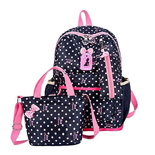DAGUAI Casual Zaino Lunch Bag Tre Pezzi Pen Rosa Multi-Function Luce Impermeabile Multi-Tasca di Viaggio for Picnic Adatto ai Ragazze e Bambini-Navy Blue (Color : Navy Blue)